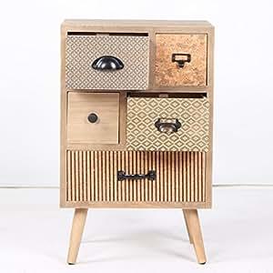 VIVA HOME Cómoda de Madera, 40 x 30 x 64 cm, Mueble de Almacenamiento para salón o Comedor, con 5 cajones Diferentes, Color Claro