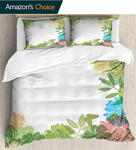 - shirlyhome Green Flower Home 3 Piece Print Quilt Set,Floral Pattern Wildflowers Leaves and Butterflies Nature Inspired Illustration with 2 Pillowcase for Kids Bedding 90