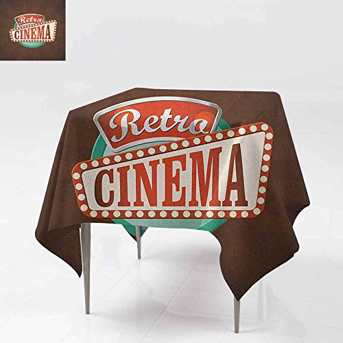 AndyTours Washable Square Tablecloth,Movie Theater,Retro Style Cinema Sign Design Film Festival Hollywood Theme,Party Decorations Table Cover Cloth,54x54 Inch Brown Turquoise Vermilion