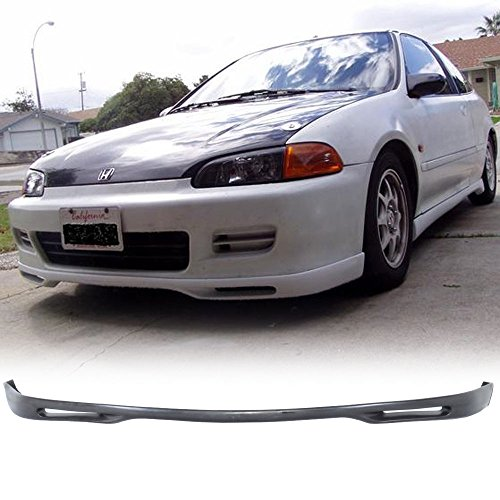 Front Bumper Lip Fits 1992-1995 Honda Civic 2Dr 3Dr | WW Style PU Black Front Lip Spoiler Splitter Air Dam Chin Diffuser Add On by IKON MOTORSPORTS | 1993 1994 ()