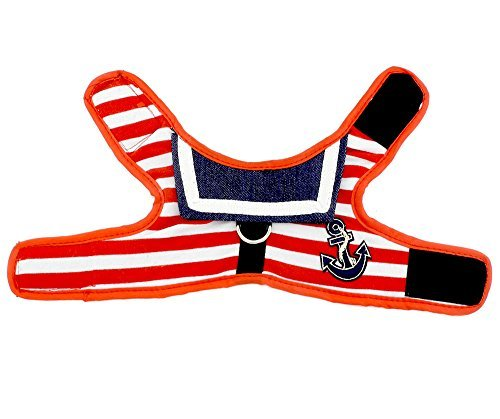 PETLOVE Sailor Striped Small Dog Vest Harness Leash Set Mesh Padded Pet Lead for Puppy Cat Walking Red M