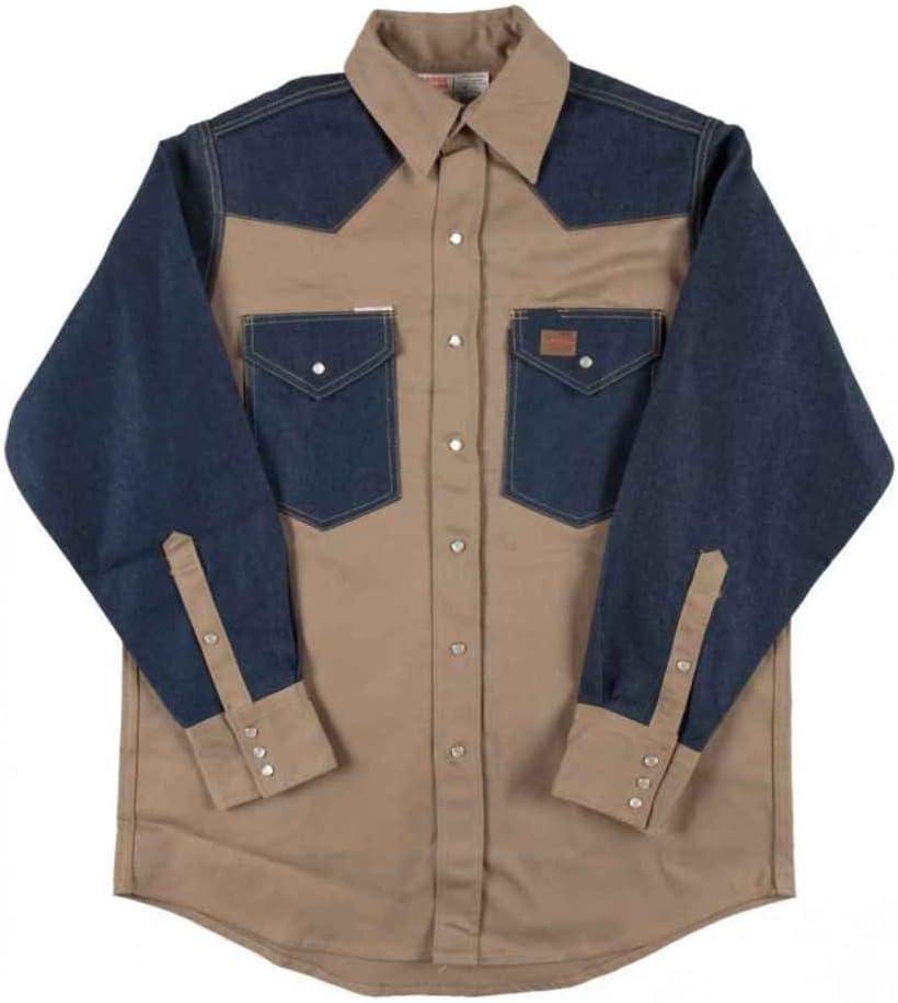 Rasco FR Heavyweight Shirt 10.0 oz - Khaki-Denim, 5XL-LONG