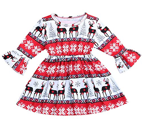 Toddler Baby Girls Christmas Outfits Deer Ruffle Long