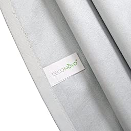 Deconovo Solid Color Thermal Insulated Blackout Curtains Grommet Curtains with Silver Coating for French Doors 52 By 84 Inch Platinum 1 Pair