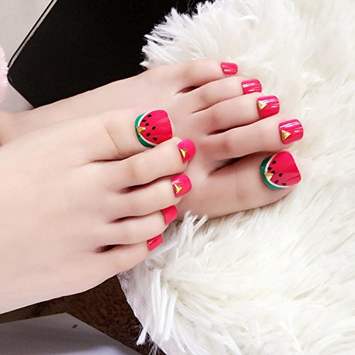 Amazon.com : Kawaii Watermelon Toenails 24Pcs Red Green Fake Nail Golden Rivet Beads Short Square Full False Toe Nails : Beauty