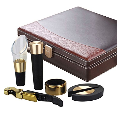 YIMI Classical style Corkscrew Opener Barware Gear Corkscrew Wine Bottle Opener Wine Hippocampus Bottle Opener Five Sets With Locked Leather gift box YMP-5A - Sunglasses Toronto In