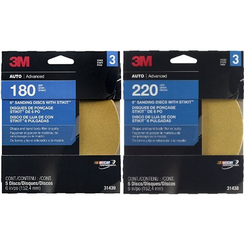 3M Sanding Disc, 31439, 6 inch, 180 grit & 3M 31438 Stikit Gold 6'' P220A Grit Disc