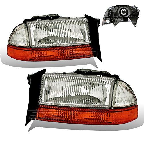 SPPC Chrome Headlights Assembly Sets (4Pc) For Dodge Dakota/Durango (Pair) High/Low Beam Bulb Included Driver Left and Passenger Right Side Replacement ()