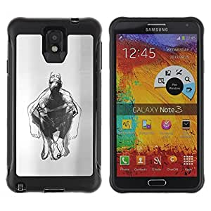 Suave TPU Caso Carcasa de Caucho Funda para Samsung Note 3 / Man Body Pencil Drawing Art / STRONG