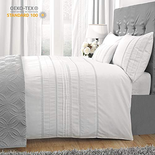 HORIMOTE HOME Duvet Cover King White, Luxury Embellished Trim Detailing, 100% Cotton Calssic Percale Woven, Soft Crisp Breathable Durable Bed Cover, 104