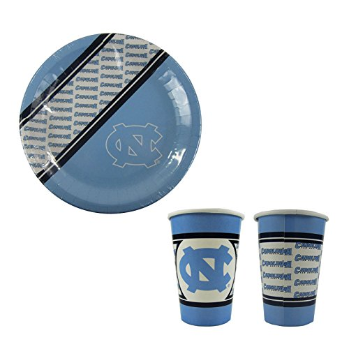A 40 Piece NCAA Gift Set 20 Disposable Paper Plates and 20 Paper Cups - North Carolina Tar Heels