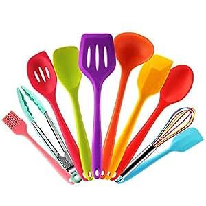 Set de 10 utensilios de cocina de silicona, espátulas antiadherentes ...