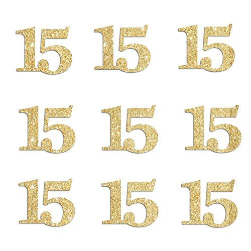 Gold Glitter 15 Confetti - 15th Birthday Quinceanera Decoration - Gold Glitter - 50 Pieces]()