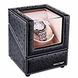 Single Watch Winder, with Flexible Plush Pillow, in Wood Shell and Black Leather, Japanese Motor, 4 Rotation Mode Setting, Fit Lady and Man Automatic Watch