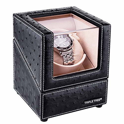 Single Watch Winder, With Flexible Plush Pillow, In Wood Shell And Black Leather, Japanese Motor, 4 Rotation Mode Setting, Fit Lady And Man Automatic Watch (Watch Winders Rolex)