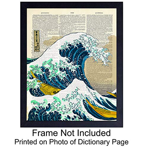 Wave off Kanagawa Japanese Wall Art Print on Dictionary Photo - Ready to Frame (8X10) Vintage Photo - Great Gift for Surfers - Cool Home Decor