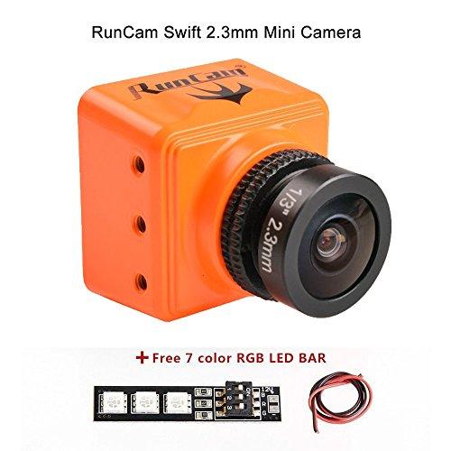 Weyland RunCam Swift Mini 600TVL FPV Camera 2.3mm Lens OSD DC 5-36V FOV 150 Degree CCD NTSC IR Blocked with Mount for Racing Drone (Orange)with 1 PCS 7 Color Led Bar Action Cameras RunCam
