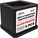 iPrimio Bed and Furniture Square Risers – 4 Pack 3.5 INCH Size – Wont Crack & Scratch Floors – Heavy Duty Rubber Bottom – Patent Pending – Great for Wood and Carpet Surface Review