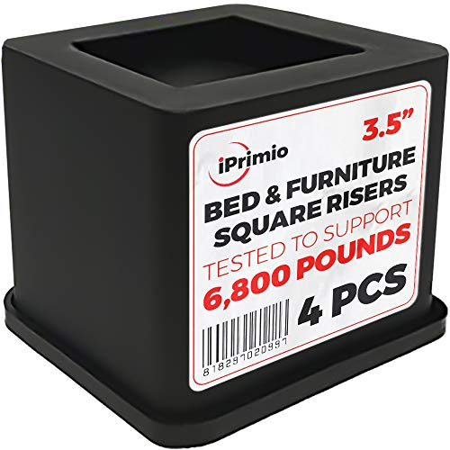 Black Bed Risers - iPrimio Bed and Furniture Square Risers - 4 Pack 3.5 INCH Size - Wont Crack & Scratch Floors - Heavy Duty Rubber Bottom - Patent Pending - Great for Wood and Carpet Surface