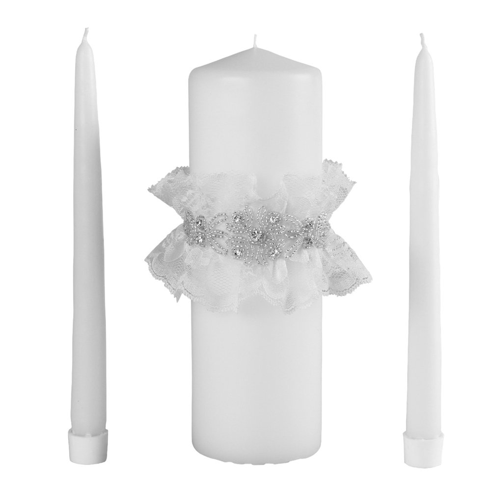Cecilia Wedding Collection Unity Candle Set, White by Ivy Lane Design