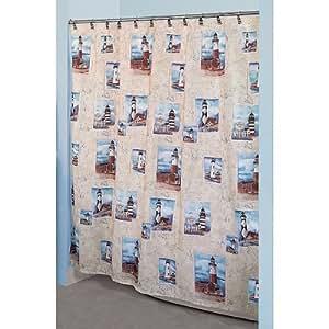 Essential home point bay lighthouse fabric for Bathroom decor amazon