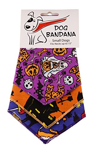 BANDANAS UNLIMITED Tie on Triangle Halloween Bandanas for Small Dogs (3 Pack), 20'' by BANDANAS UNLIMITED