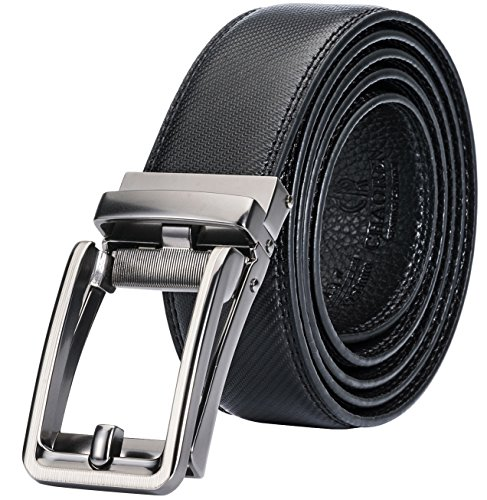 "Men's Genuine Leather Ratchet Click Belt Custom Fit with Automatic Sliding Buckle, Mens Belt in an Elegant Gift Box (Custom: Up to 42"" Waist, Classic (Mens Gift Belt Buckle)"