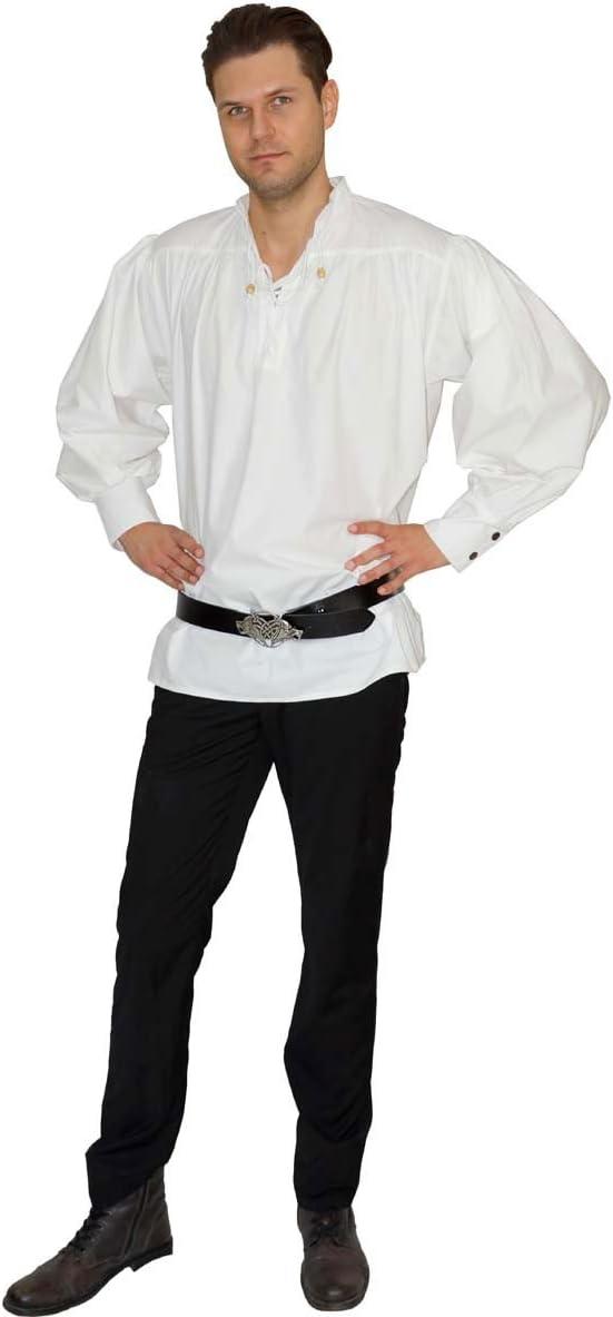 Blanc Coton Caytan Chemise Style m/édi/éval//Pirate Maylynn M//L
