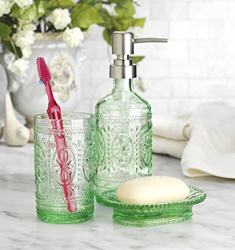 Classic Set of 3 Glass Bathroom ~Toothbrush Holder ~ Soap Holder ~ Soap Pump Lotion Dispenser (Green)