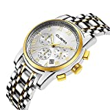 Men's Stainless Steel Watch-Luxury Casual Analog Roman Quartz Calender Watch for Men by CUENA