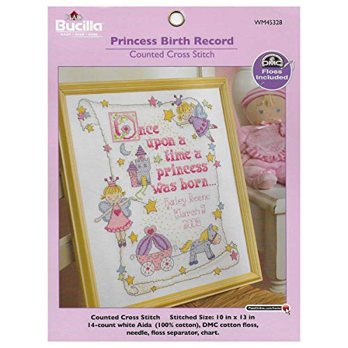 Bucilla Counted Cross Stitch Birth Record Kit, 10 by 13-Inch, 45328 Princess