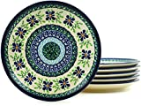 Polish Pottery Set of 6 Dessert/Side Plates - 7½-inch diameter (Sweet Violet Theme) + Certificate of Authenticity