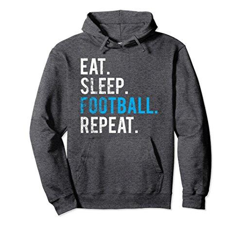 Unisex Eat Sleep Football Repeat Hoodie Football Game Motivation Small Dark Heather (Football Sweatshirt Hooded Hoodie Ball)