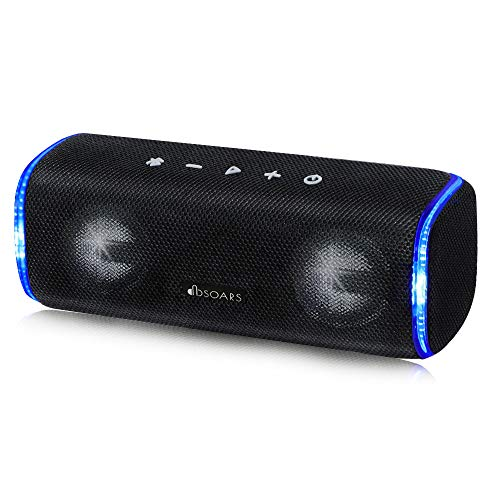 DBSOARS Beat9 Bluetooth Speakers, 20W Portable Stereo Speaker with Loud Sound,Rich Bass, Cool Flashing LED&Tapping Function, 25H Playtime, IPX7 Waterproof, Perfect for Hiking, Camp, Party, Home,ect …