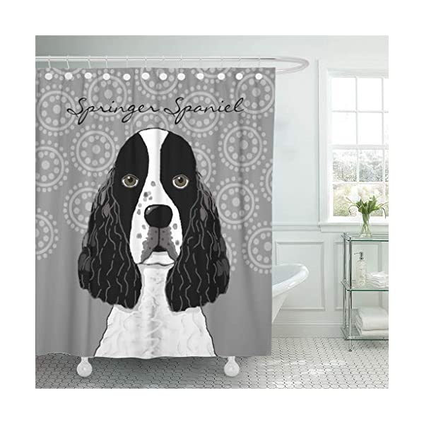 "Semtomn Shower Curtain Puppies Customize English Springer Spaniel Dog on Pets Lover 72""x72"" Home Decor Waterproof Bath Bathroom Curtains Set with Hooks 1"