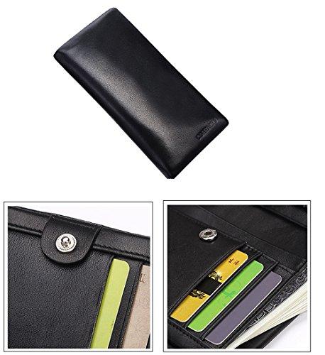FEEHAN Große Kapazität Luxus Wax männlich-echtes Leder-Geldbörse mit Reißverschluss-Tasche (hochgradigem-Paket) 195*95*20MM (schwarz)
