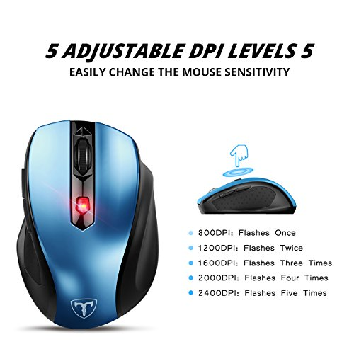 VicTsing MM057 2.4G Wireless Portable Mobile Mouse Optical Mice with USB Receiver, 5 Adjustable DPI Levels, 6 Buttons for Notebook, PC, Laptop, Computer, Macbook - Blue by VicTsing (Image #1)