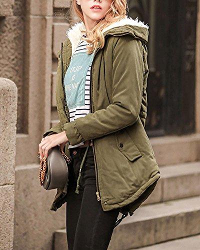 Long Green Faux Fur Parka Outwear Cardigan Hooded Jacket Moollyfox Army Coat Women Outwear Warm Itq0O