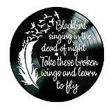 Blackbird song lyrics by the Beatles on a Vinyl Record Artwork Room Decor