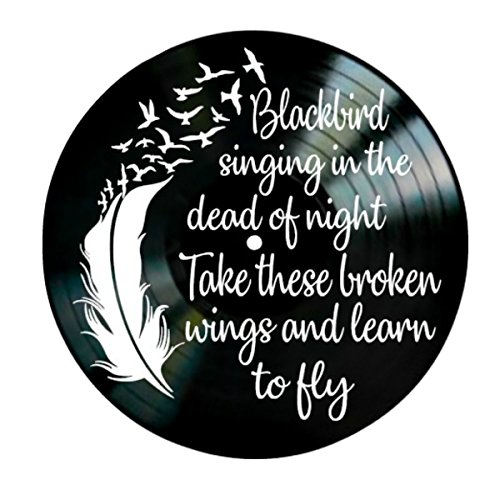 Blackbird song lyrics by the Beatles on a Vinyl Record Artwork Room Decor by VinylRevamped