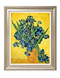 DecorArts- Irises Vase Flower, Vincent Van Gogh Art Reproduction. Giclee Print& Museum Quality Framed Art. 24x30'', Outside Size: 30x36''