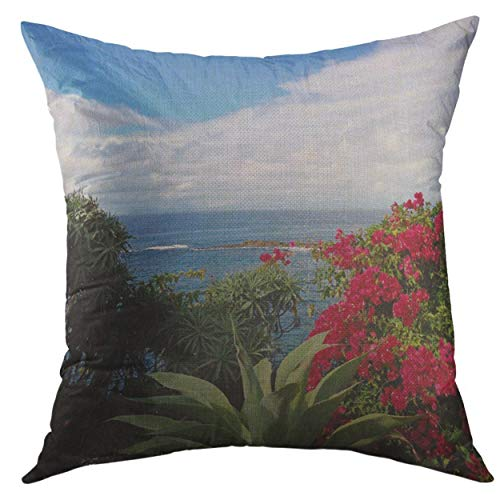 Mugod Pillow Case House Laguna Cottage Vacation Beachy Montage Flowery Square Throw Pillow Cover Men Women Kids Cushion Cover 20x20 inch