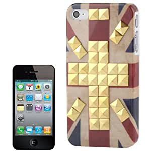 Retro UK Flag Pattern Golden Rivet Plastic Case for iPhone 4 & 4S