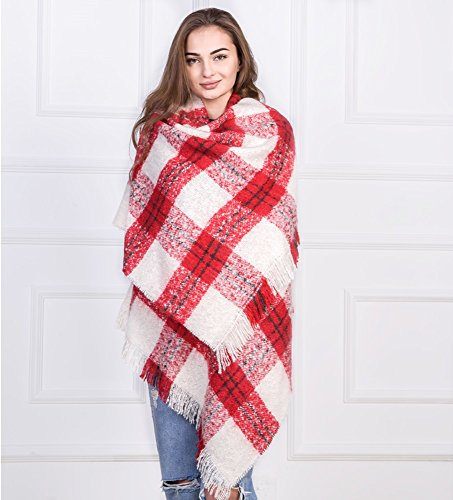 Women Vintage Plaid Scarf Shawl Blanket Oversized Scarf Wrap Winter Accessories