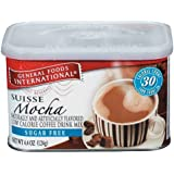General Foods International Sugar Free Suisse Mocha Coffee Drink Mix, 4.4-Ounce Tins (Pack of 6)