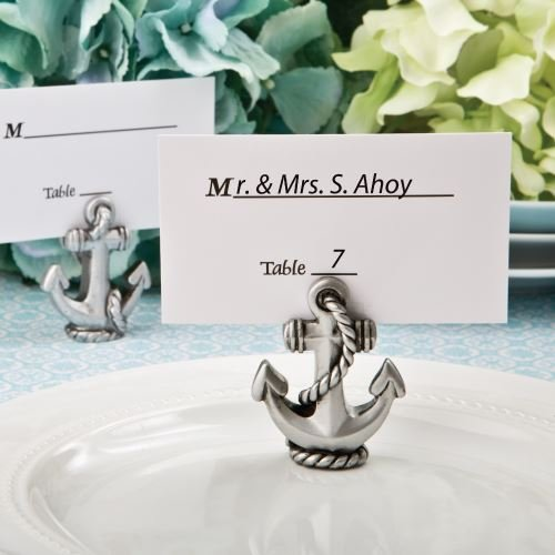6 Nautical Anchor Name / Memo Note Wedding Place Cards Holders Favours Gifts Fashioncraft