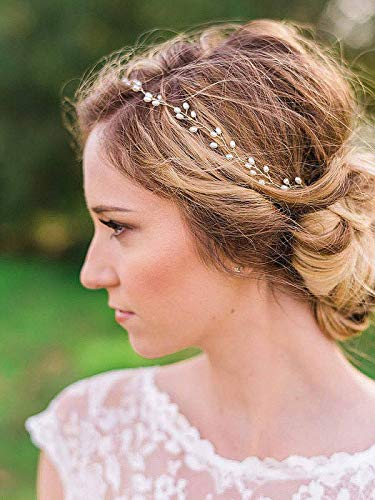 Catery Bride Wedding Headband Pearl Hair Vine Braid Headpieces Bridal Hair Accessories for Women(Sliver)