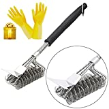 "Sukey Grill Brush and Scraper, BBQ Grill Brush Bristle Free Barbecue Brush for Grill 18"" Premium Stainless Steel BBQ Grill Cleaner Grilling Accessories Gift With Gloves Great for All Grill Types"