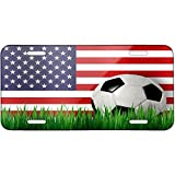 Soccer Team Flag USA Metal License Plate 6X12 Inch