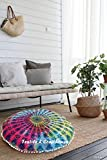 TEXTILE&CRAFT HOUSE Decorative Mandala Round Floor Pillow Cushion Cover Pouf Cover Indian Bohemian Ottoman Poufs Cover With Pom Pom outdoor Cushion Cover (Style -5)